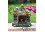 Tree Stump Solar Light House Garden Ornament - Brown