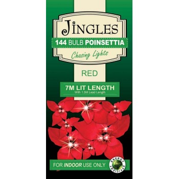 Jingles 144 Bulb Red Pointsettia with Multi Function Lights