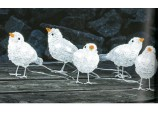 Christmas Five Acrylic Baby Birds with 40 White LEDs