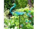 Peacock Glass Birdbath / Feeder Stake