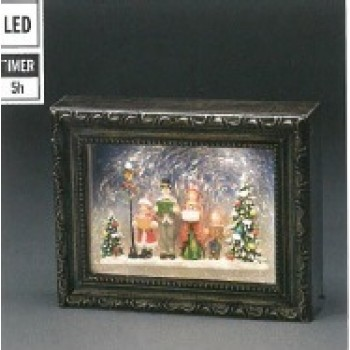 Xmas Decoration Water Filled Snowing PICTURE w Carol Singers w White LEDs Timer