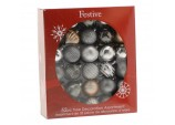 52 Piece Bauble pack - Silver/Copper/White