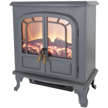 2KW Log Effect Stove Fire - Grey