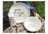 3-Piece 'Visit A Farm Tractor' Children Pressed Bamboo Dinner Set, plate bowl