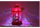 "Xmas 16"" Musical Red Hexagonal LED Light up show Lantern w Santa"
