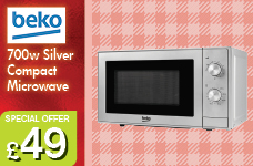 700w Compact Microwave - Silver  – Now Only £49.00