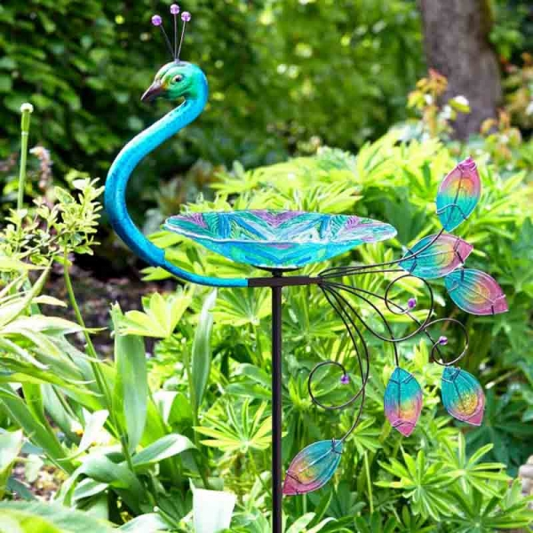 Peacock Glass Birdbath / Feeder Stake – Now Only £15.00