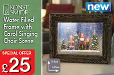 Xmas Decoration Water Filled Snowing PICTURE w Carol Singers w White LEDs Timer – Now Only £25.00