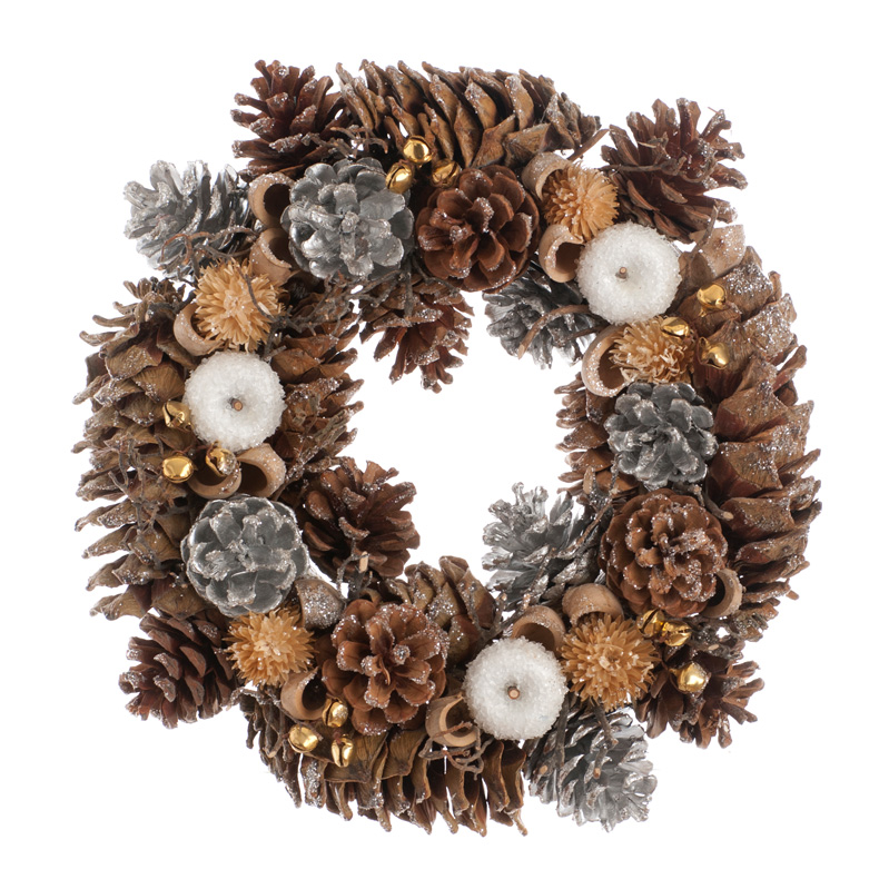 30cm Silver cone and White apple wreath in box – Now Only £8.00