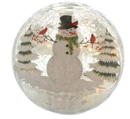 20cm Battery operated Lit Crackle effect Snowman Ball – Now Only £14.00
