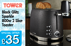 2 Slice Toaster Black Glitz Sparkle 800w – Now Only £35.00