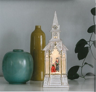 NEW Water Filled Church White  with Dickensian Motif – Now Only £30.00