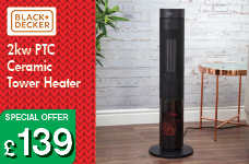 2kw PTC Ceramic Tower Heater - Black – Now Only £139.00