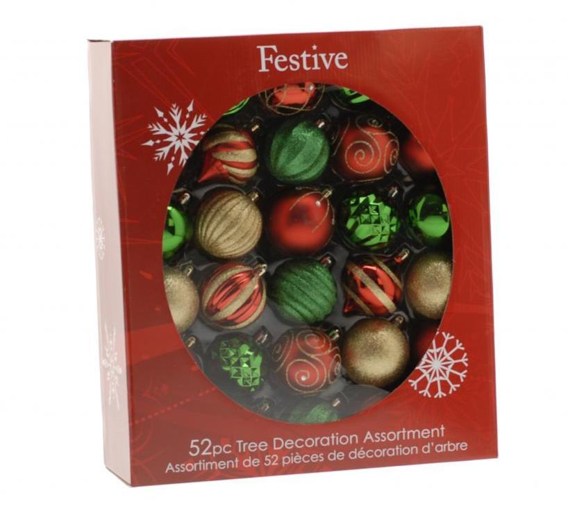 52 Piece Bauble pack - Red/Green/Gold  – Now Only £25.00