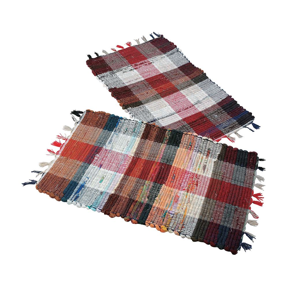 Multi Cotton Check Rug – Now Only £2.00